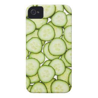 Full frame of sliced cucumber, on white iPhone 4 cover