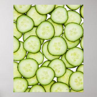 Full frame of sliced cucumber on white posters