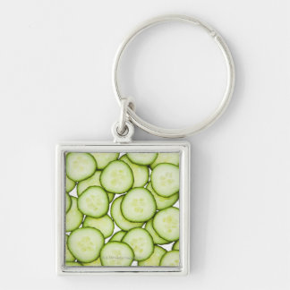 Full frame of sliced cucumber, on white Silver-Colored square keychain