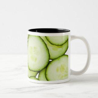 Full frame of sliced cucumber, on white Two-Tone coffee mug
