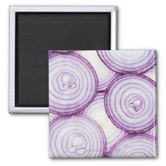 Full frame of sliced red onion, on white 2 inch square magnet