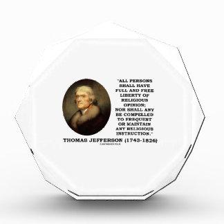 Full Free Liberty Of Religious Opinion Jefferson Acrylic Award