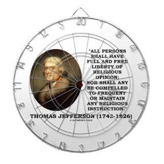 Full Free Liberty Of Religious Opinion Jefferson Dartboard With Darts