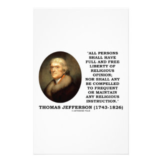 Full Free Liberty Of Religious Opinion Jefferson Stationery