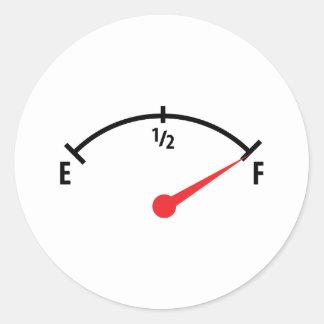 full fuel tank indicator gauge classic round sticker