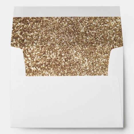 Full Gold Glitter Inside Elegant Envelope