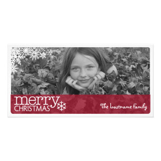 Full Horizontal Photo - Red Merry Christmas Card