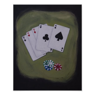 Full House Poker Hand with Chips Acrylic Painting Poster