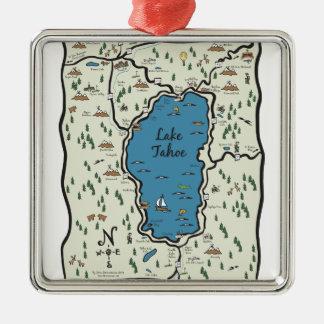 Full Lake Tahoe Area Map Metal Ornament