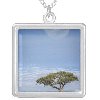 Full moon above acacia trees, Masai Mara, Custom Necklace