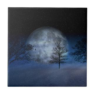 Full Moon Among the Treetops Ceramic Tile