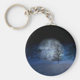 Full Moon Among the Treetops Keychain