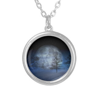 Full Moon Among the Treetops Silver Plated Necklace