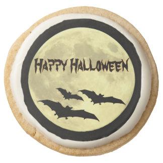 Full Moon and Bats Happy Halloween Round Shortbread Cookie