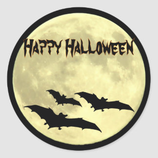 Full Moon and Bats Happy Halloween Stickers