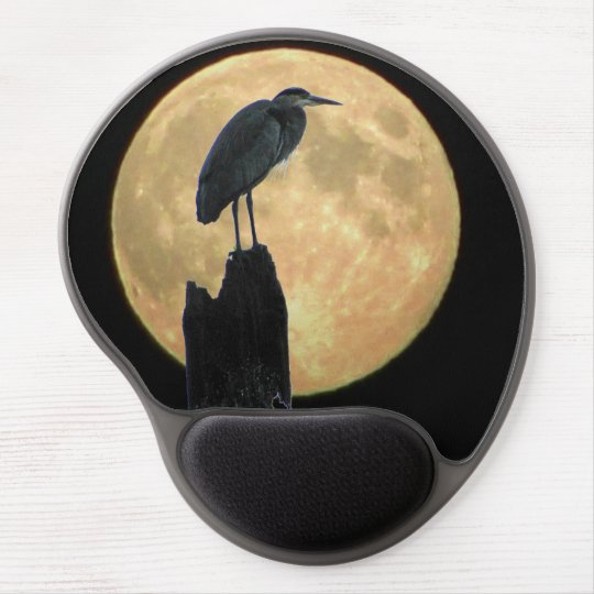 Full Moon and Blue Heron Gel Mouse Pad