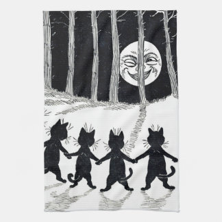 Full moon and Cats, Louis Wain Hand Towel
