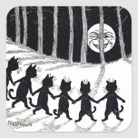 Full moon and Cats, Louis Wain Square Sticker