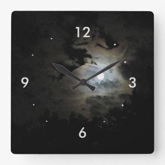 Full Moon and Clouds on black Square Wall Clock