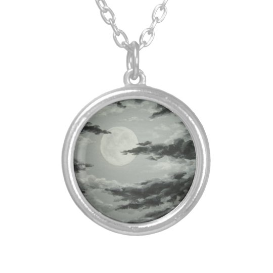 Full Moon and Cloudy Night Sky Art Necklace