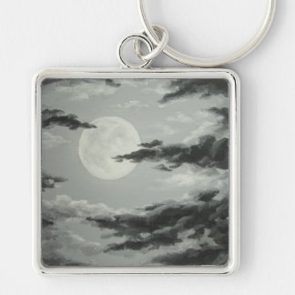 Full Moon and Cloudy Night Sky Keychain