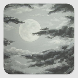 Full Moon and Cloudy Night Sky Sticker