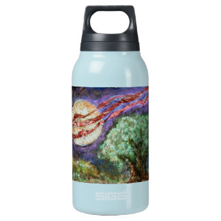 Full Moon and Field Oak - mixed media Insulated Water Bottle
