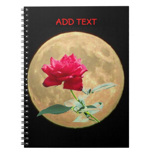 Full Moon and Full Bloom Red Rose Note Book