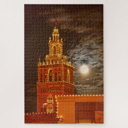 Full Moon and Giralda Tower, Kansas City, Missouri Jigsaw Puzzle