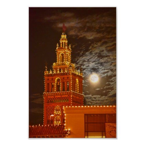 Full Moon and Giralda Tower, Kansas City, Missouri Poster