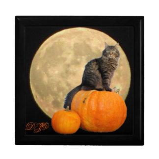 Full Moon and Grumpy Angel on Pumpkins Gift Box