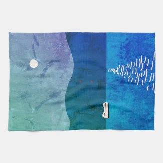Full Moon and Landscape on Kitchen Towel