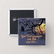 Full Moon and Owl Silhouette Button