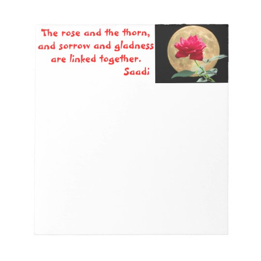 Full Moon and Red Rose with Quote Notepad