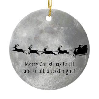 Full Moon and Santa Design Ornament