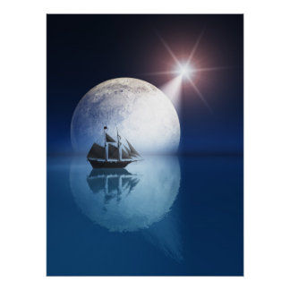 Full Moon and Star over Ship Poster