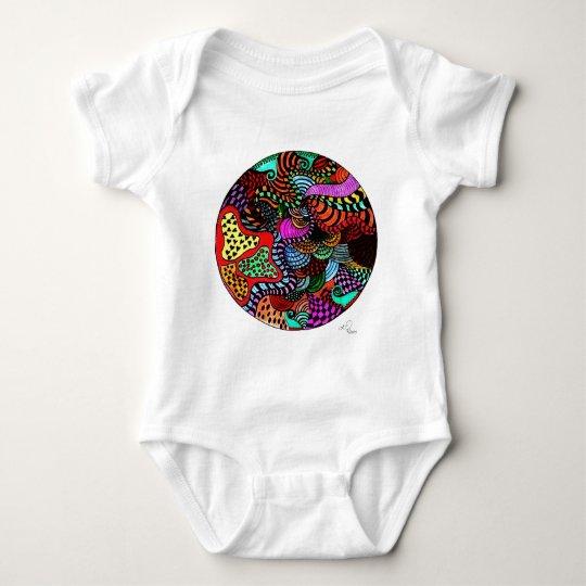 Full moon and stars flower design baby bodysuit