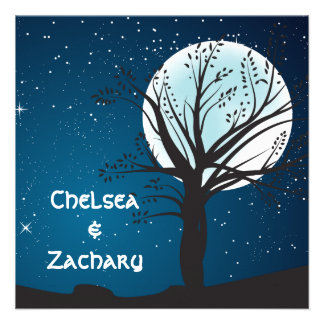 Full Moon and Stars Wedding Personalized Invite