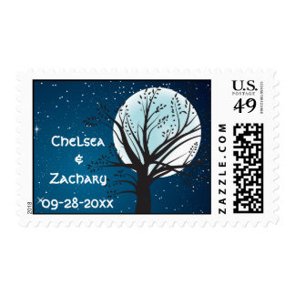 Full Moon and Stars Wedding Stamps