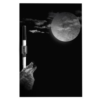 Full moon and the wolf Dry-Erase board
