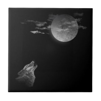 Full moon and the wolf small square tile