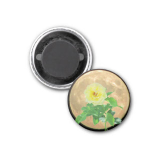 Full Moon and Yellow  Rose Bloom Silhouette 1 Inch Round Magnet