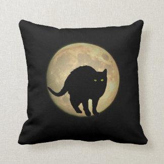 Full Moon Arching Black Cat Throw Pillow
