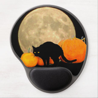Full Moon Arching Cat and Pumpkins Gel Mouse Pad