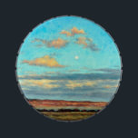 """Full Moon at Dusk in the Mountains Candy Tin<br><div class=""""desc"""">This image is from the painting called &quot;Once in a Blue Moon&quot; by Carol Zirkle. The evening was glorious!! The moon was up early and the colors looking east were beautifully rich!! Gotta love true Montana scenes!</div>"""