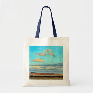 Full Moon at Dusk in the Mountains Canvas Tote Bag