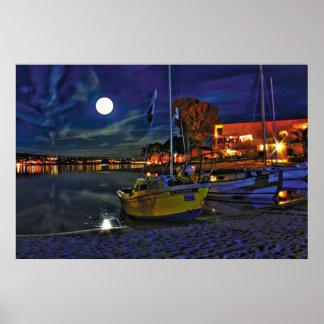 Full Moon at Sailboat Cove Poster