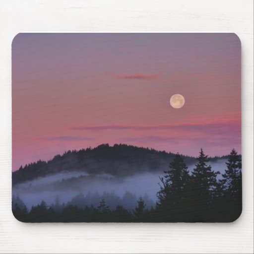 Full Moon at Sunrise Photo Mouse Pad