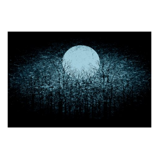 Full moon at winter night | Black and White Art 3 Poster