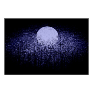 Full moon at winter night | Black and White Art 4 Poster